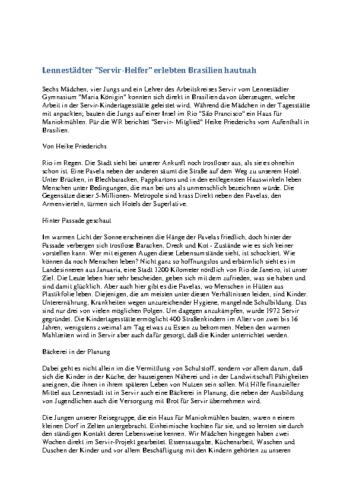 Lennestädter 'Servir-Helfer' erlebten Brasilien hautnah (WR, 11.08.1995)
