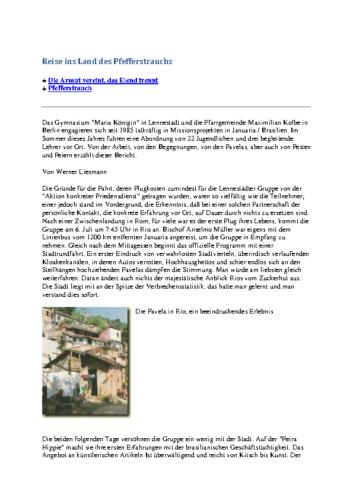 Reise ins Land des Pfefferstrauchs (Sendbote, Dezember 1995, Januar 1996)