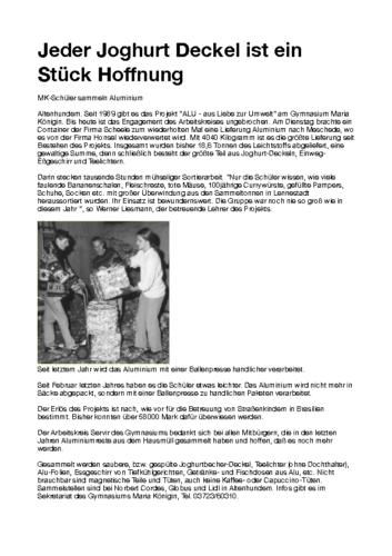 Jeder Joghurt Deckel ist ein Stück Hoffnung (WP, 20.12.1997)