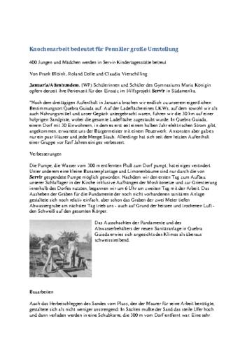 Knochenarbeit bedeutet für Pennäler große Umstellung (WP, 19.07.2000)