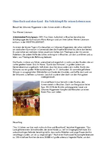 Ohne Dach und ohne Land – Ein Volk kämpft für seinen Lebensraum (WP, 22.08.2000)