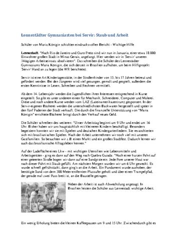 Lennestädter Gymnasiasten bei Servir: Staub und Arbeit (WR, 19.07.2000)