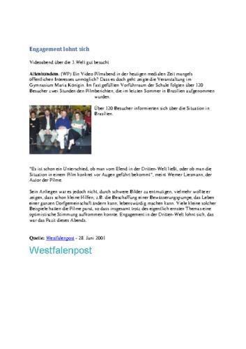 Engagement lohnt sich – Videoabend über die 3.Welt gut besucht (WP, 28.06.2001)