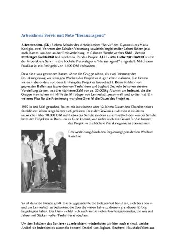 """Arbeiskreis Servir mit Note """"Herausragend"""" (SK, 10.10.2001)"""