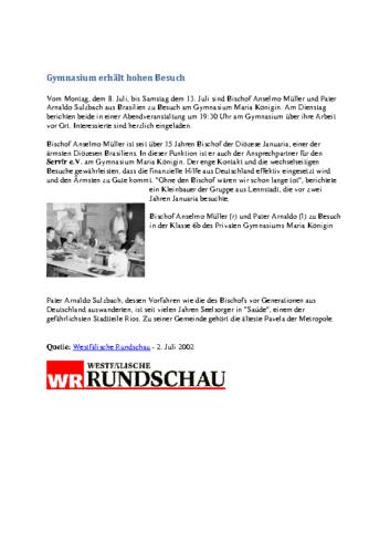 Gymnasium erhält hohen Besuch (WR, 02.07.2002)