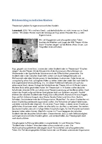 Brückenschlag zu indischen Kindern (WP, 28.05.2002)