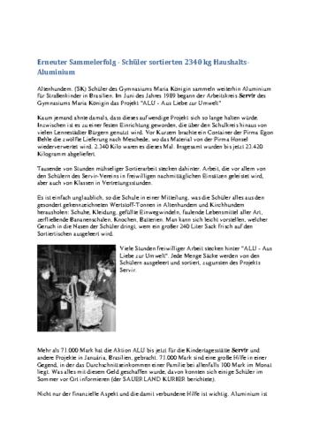 Erneuter Sammelerfolg – Schüler sortierten 2340 kg Haushalts-Aluminium (SK, 03.01.2001)