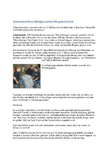 """Erneuter ALU-Sammelerfolg – Schüler sortierten 2160 """"Kilo"""" (SK, 26.06.2002)"""