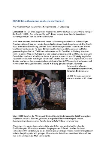 28.540 Kilo Aluminium aus Liebe zur Umwelt (WP, 27.07.2004)