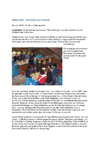 ALU: Für uns Abfall – für Servir Lebensqualität (WP, 04.10.2006)