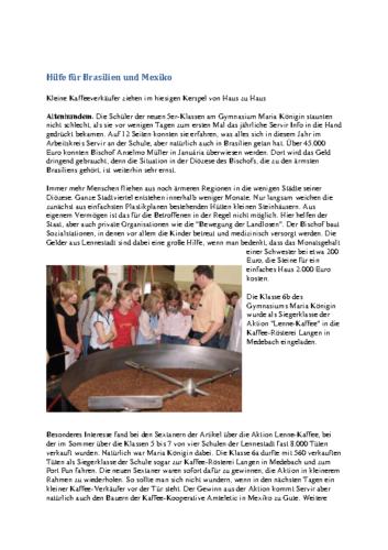 Hilfe für Brasilien und Mexiko – Kleine Kaffeeverkäufer ziehen von Haus zu Haus (WP, 12.12.2006)
