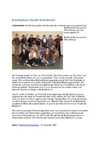 """Erste Big Band-CD heißt """"Heilix Blechle"""" (WR, 16.12.2007)"""