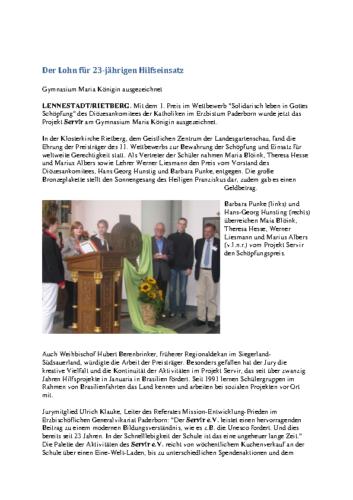 Der Lohn für 23-jährigen Hilfseinsatz – Gymnasium Maria Königin ausgezeichnet (WP, 03.10.2008)