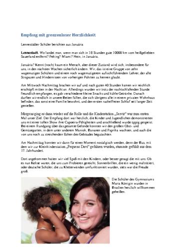 Empfang mit grenzenloser Herzlichkeit (WP, 14.07.2010)