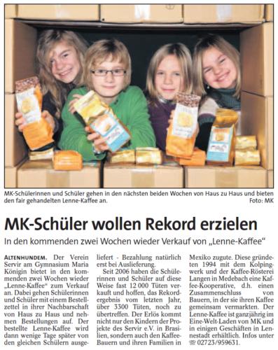MK-Schüler wollen Rekord erzielen (WP, 17.11.2010)