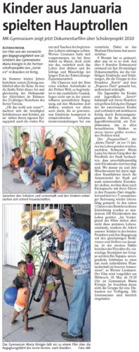 Kinder aus Januária spielten Hauptrollen (WP, 11.05.2011)