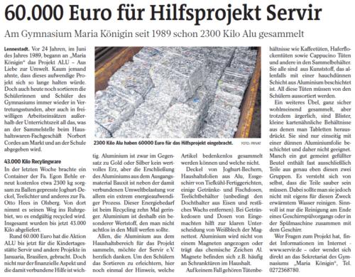 60.000 Euro für Hilfsprojekt Servir (WP, 08.06.2013)