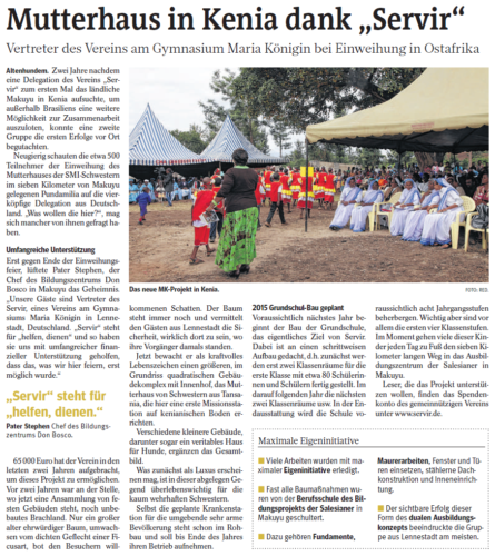 "Mutterhaus in Kenia dank ""Servir"" (WP, 10.07.2014)"