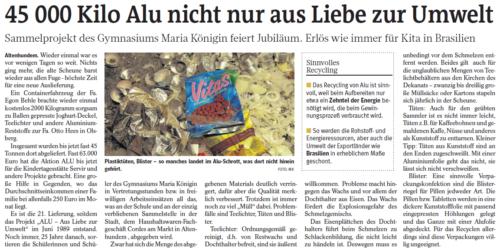 45.000 Kilo Alu nicht nur aus Liebe zur Umwelt (WP, 09.12.2014)