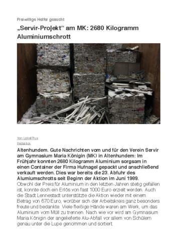 """Servir-Projekt"" am MK: 2680 Kilogramm Aluminiumschrott (LP, 19.09.2018)"